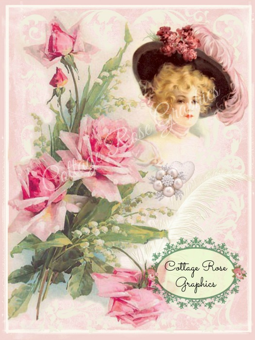 Vintage Pink Romance Art Print