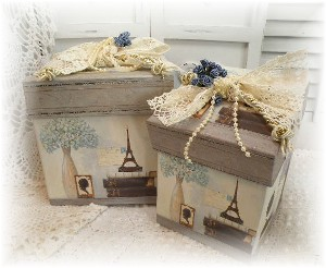 Paris Vintage inspired nesting GIFT BOXES