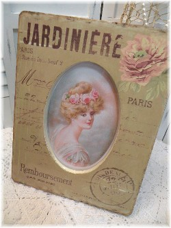 French JARINIERE pink roses PARIS frame